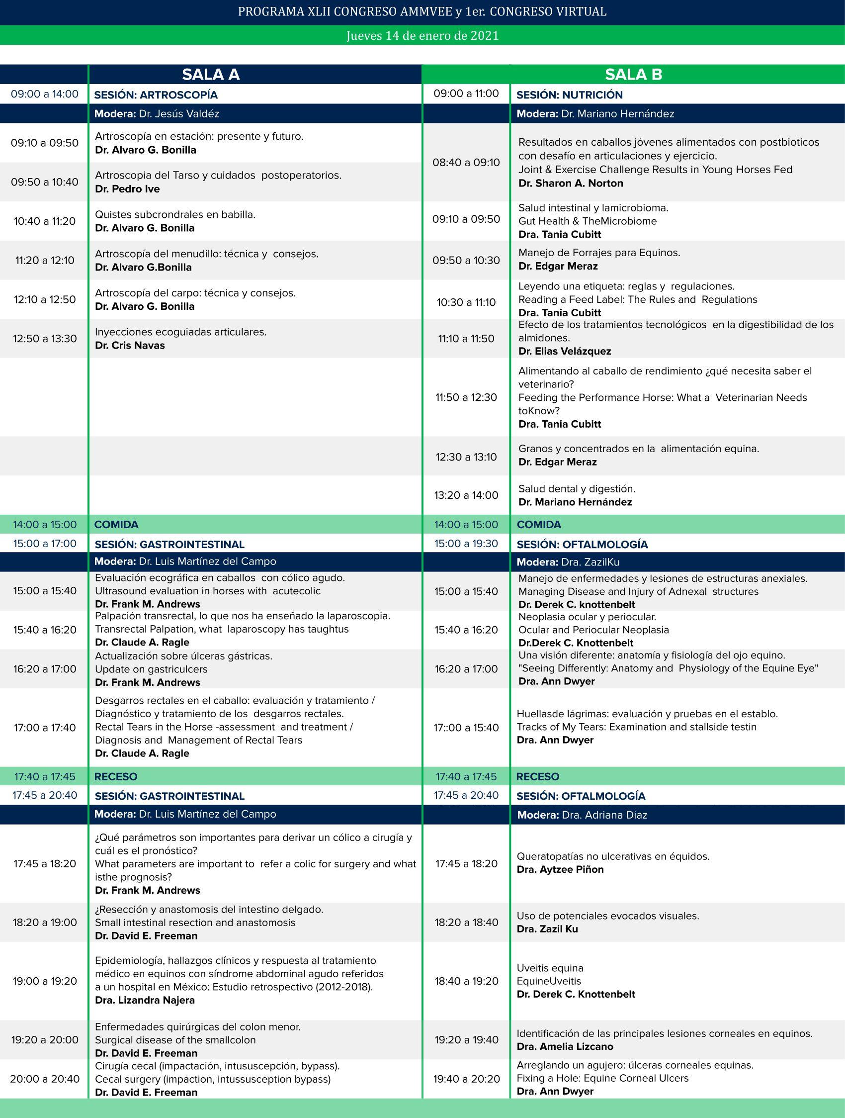 Congreso virtual AMMVEE - Programa 14 de enero de 2021